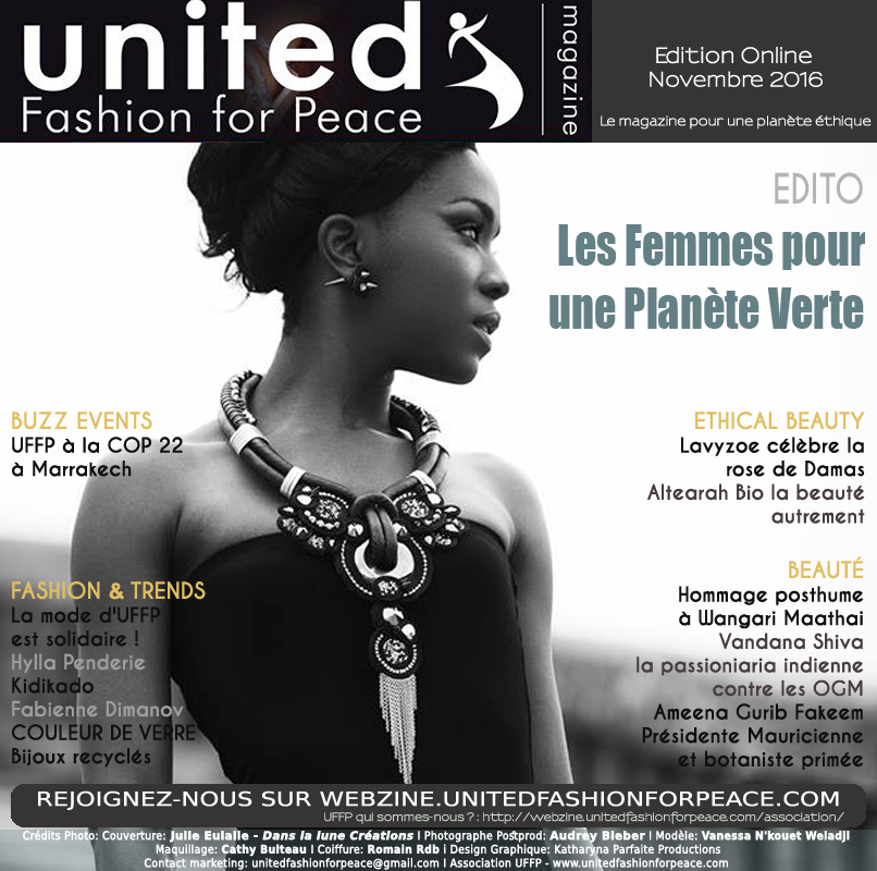 COUVERTURE PRESSE UNITED FASHION FOR PEACE - Fabienne Dimanov la mode upcyclée