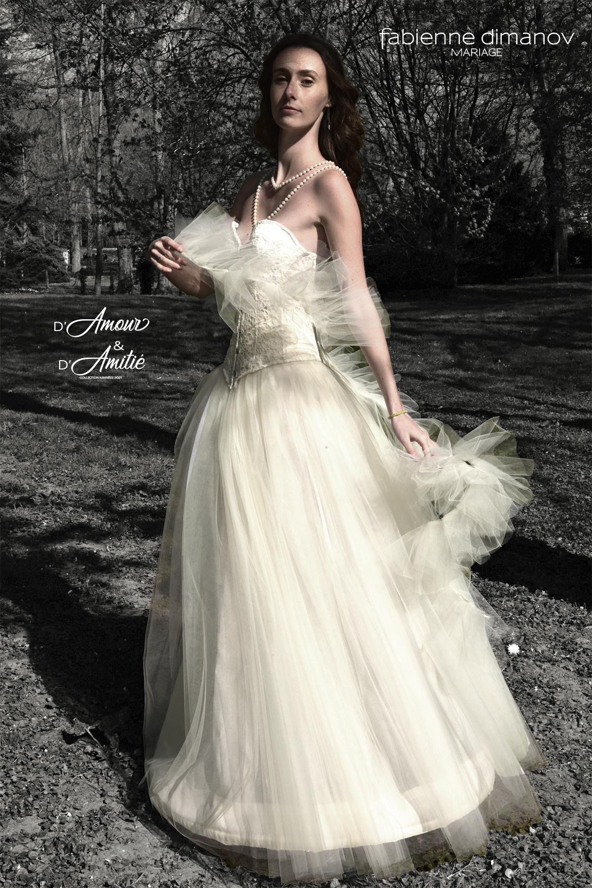 Robe de mariées corset princesse sur mesure - création unique personnalisée - D'Amour & D'Amitié - Fabienne Dimanov Mariage